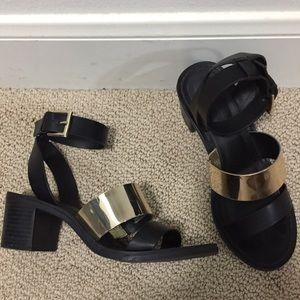 Zara Black Gold Chunky Heel Strappy Sandals